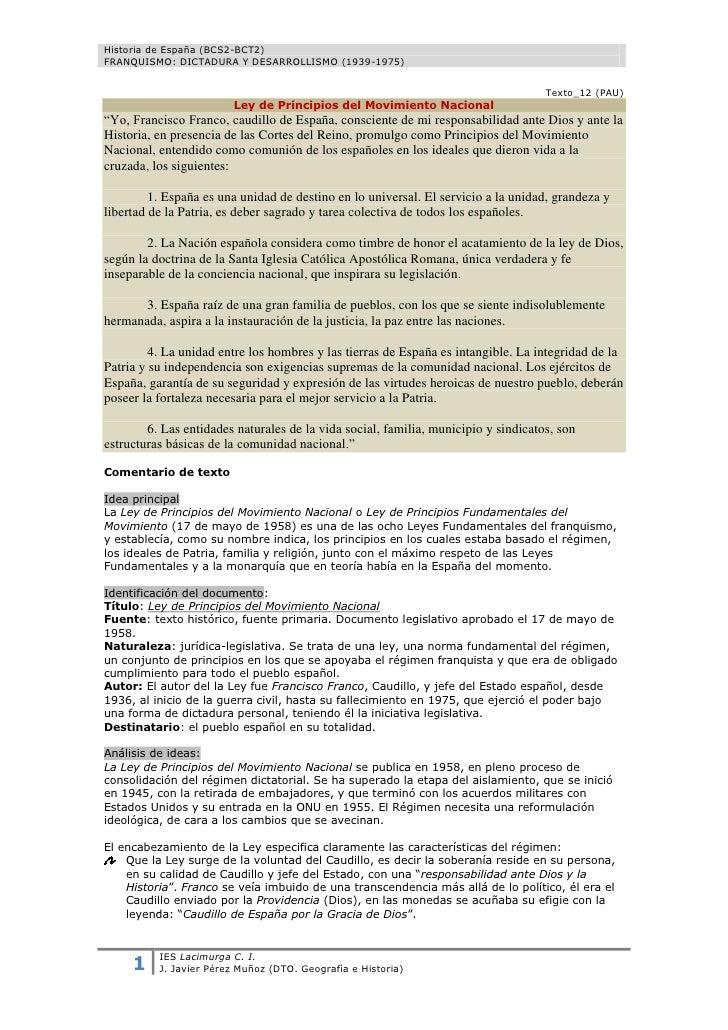 Historia de España (BCS2-BCT2)FRANQUISMO: DICTADURA Y DESARROLLISMO (1939-1975)                                           ...