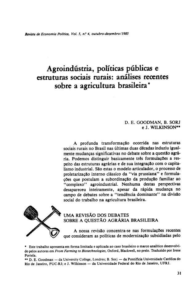 Texto 8 goodman d e sorj b wilkinson j agroindústrias políticas públicas e estruturas sociais rurais análises recentes sob...
