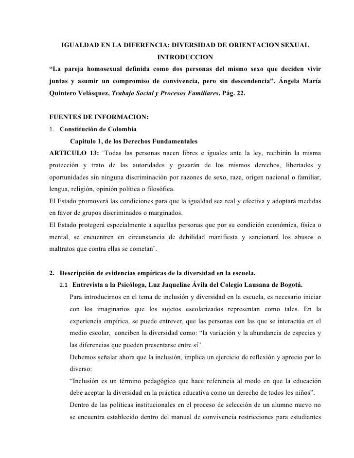"""IGUALDAD EN LA DIFERENCIA: DIVERSIDAD DE ORIENTACION SEXUAL                                          INTRODUCCION""""La parej..."""