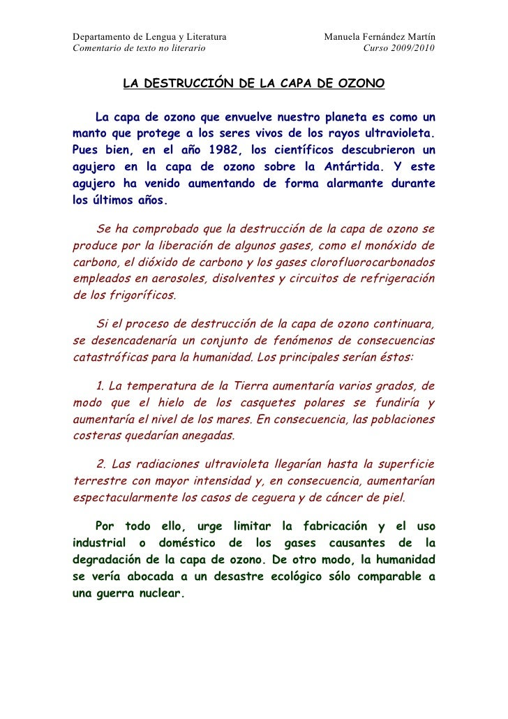 Departamento de Lengua y Literatura          Manuela Fernández Martín Comentario de texto no literario                    ...