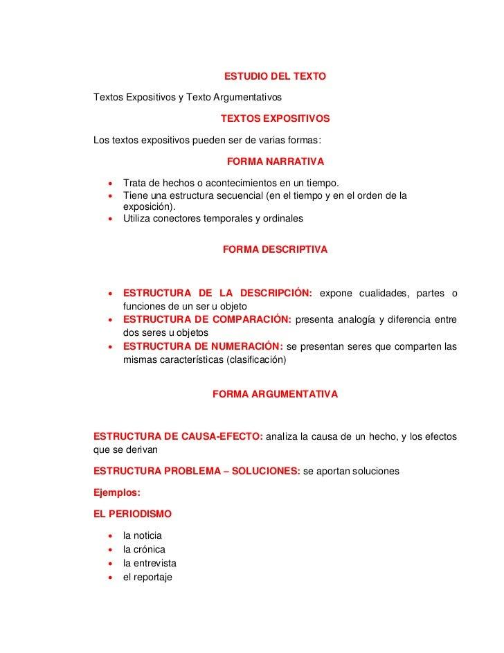 ESTUDIO DEL TEXTOTextos Expositivos y Texto Argumentativos                             TEXTOS EXPOSITIVOSLos textos exposi...