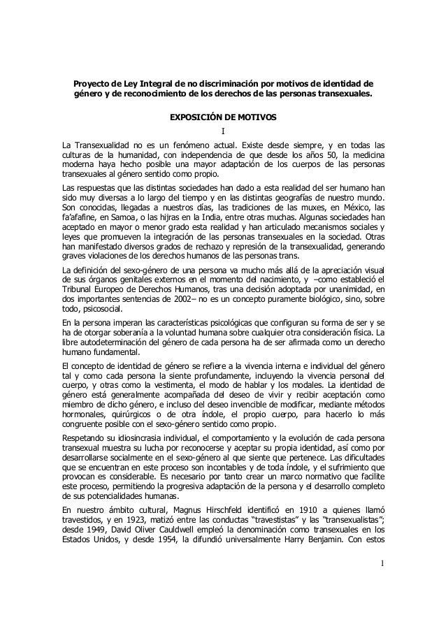 Proyecto de Ley Integral de no discriminación por motivos de identidad de género y de reconocimiento de los derechos de la...