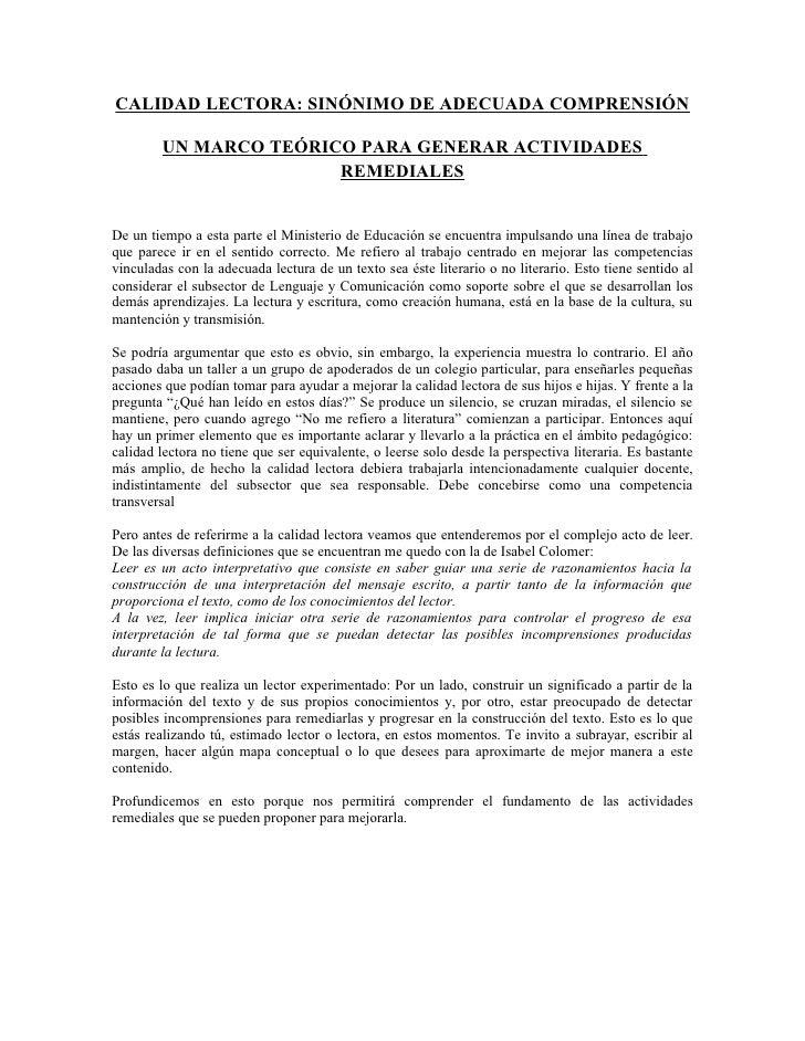 CALIDAD LECTORA: SINÓNIMO DE ADECUADA COMPRENSIÓN          UN MARCO TEÓRICO PARA GENERAR ACTIVIDADES                      ...
