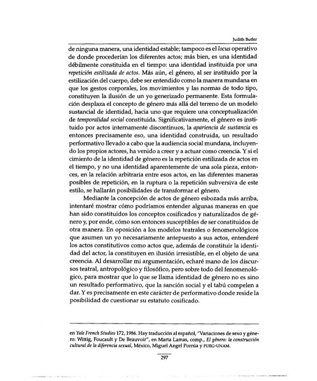 "an analysis of sex and gender in simone de beauvoirs second sex by judith butler Simone de beauvoir (1908-1986)the second sex the second sex a sex and gender judith has any necessary consequence for becoming a given gender"" (butler 35."