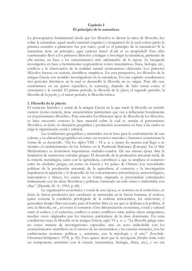 Capítulo I                               El principio de la naturalezaLa preocupación fundamental desde que los filósofos ...