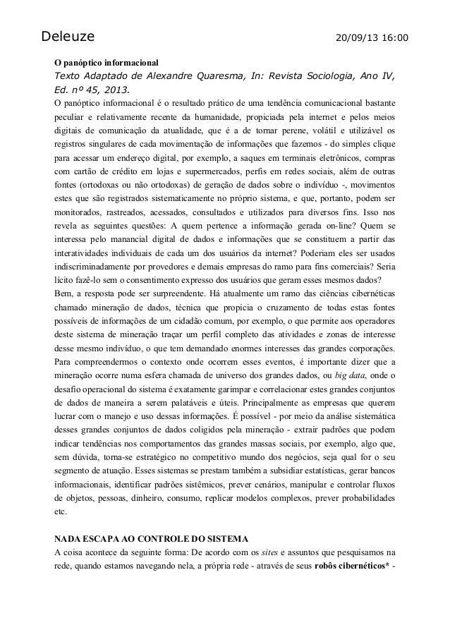 Deleuze 20/09/13 16:00 O panóptico informacional Texto Adaptado de Alexandre Quaresma, In: Revista Sociologia, Ano IV, Ed....