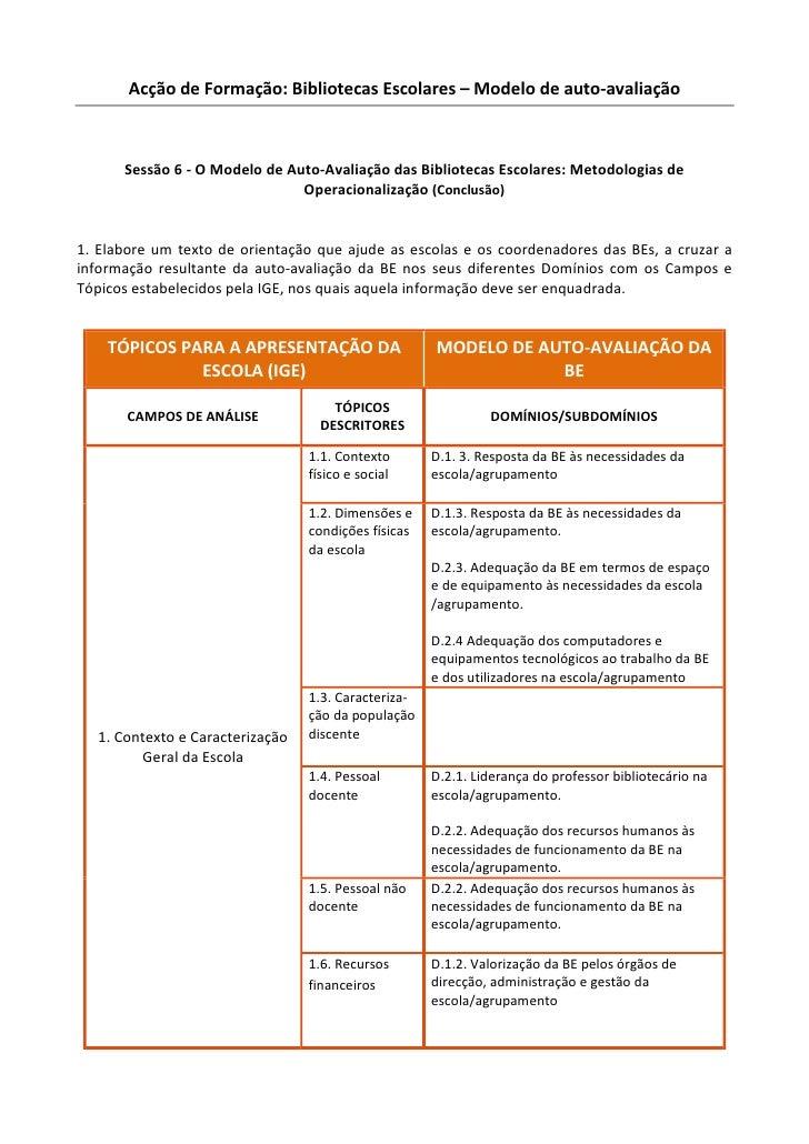 Acção de Formação: Bibliotecas Escolares – Modelo de auto-avaliação          Sessão 6 - O Modelo de Auto-Avaliação das Bib...