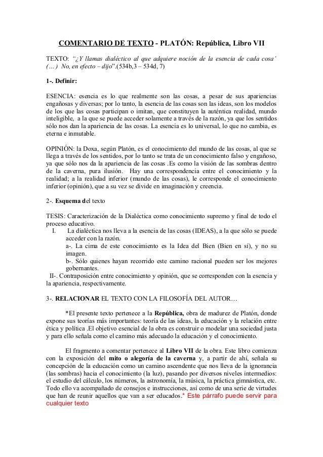 """COMENTARIO DE TEXTO - PLATÓN: República, Libro VII TEXTO: """"¿Y llamas dialéctico al que adquiere noción de la esencia de ca..."""