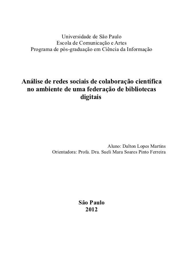 Tese de doutorado - Dalton Lopes Martins - Análise de Redes Sociais de colaboração científica no ambiente de uma federação de bibliotecas digitais