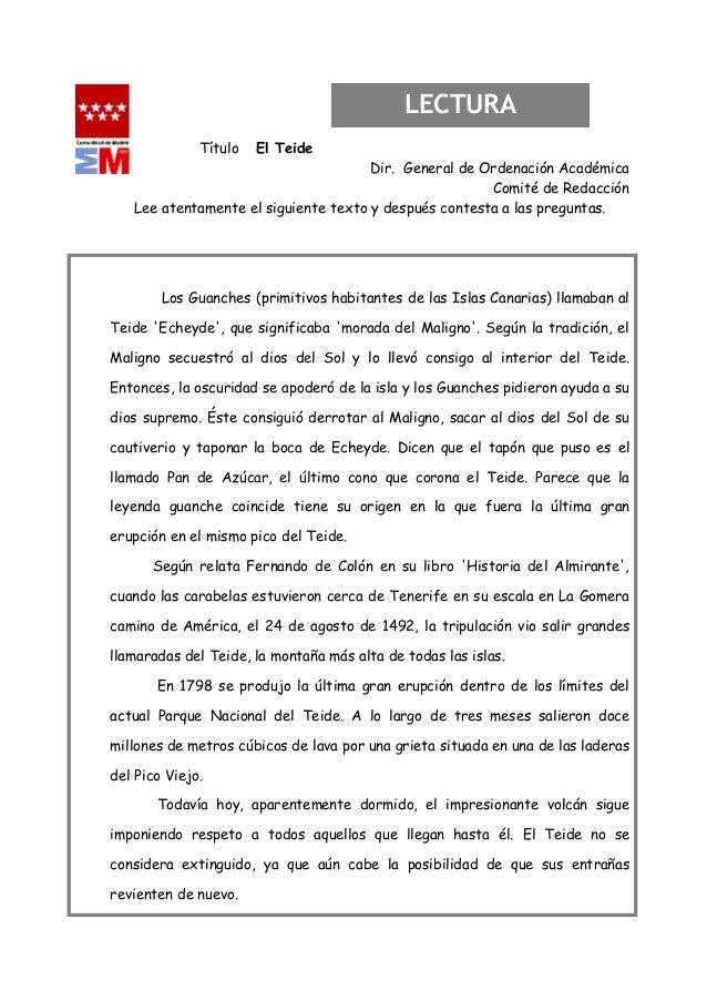 LECTURA              Título   El Teide                                      Dir. General de Ordenación Académica          ...