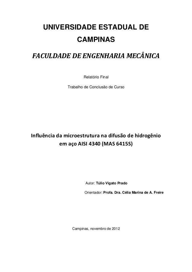 UNIVERSIDADE ESTADUAL DE                   CAMPINASFACULDADE DE ENGENHARIA MECÂNICA                      Relatório Final  ...