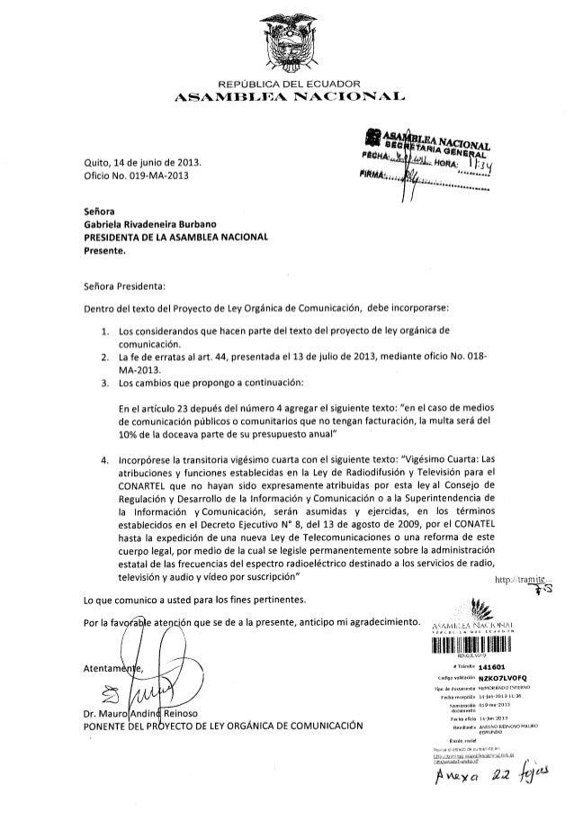 REPUBLICA DEL ECUADORASAN{EB[-T.)A I AC IOÑI A I-FÉ(tllÁiFlñfiAi¡;.s.óeaaa.......qÉSeñora Presidenta:Dentro deltexto del P...