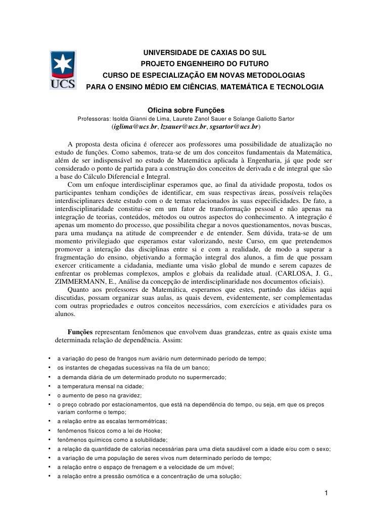 UNIVERSIDADE DE CAXIAS DO SUL                                PROJETO ENGENHEIRO DO FUTURO                 CURSO DE ESPECIA...