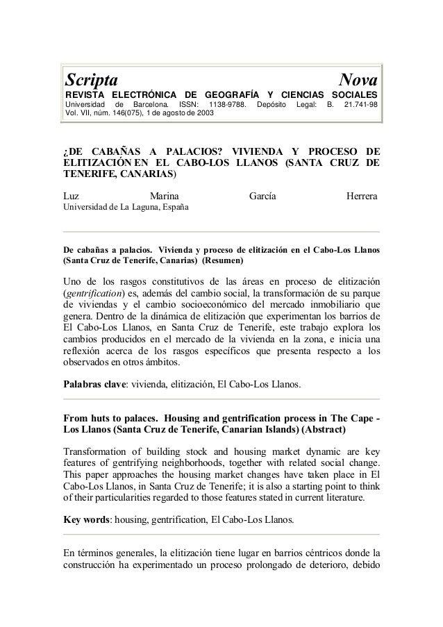 Scripta Nova REVISTA ELECTRÓNICA DE GEOGRAFÍA Y CIENCIAS SOCIALES Universidad de Barcelona. ISSN: 1138-9788. Depósito Lega...