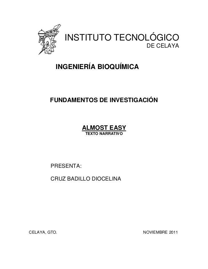 INSTITUTO TECNOLÓGICO                                        DE CELAYA           INGENIERÍA BIOQUÍMICA        FUNDAMENTOS ...