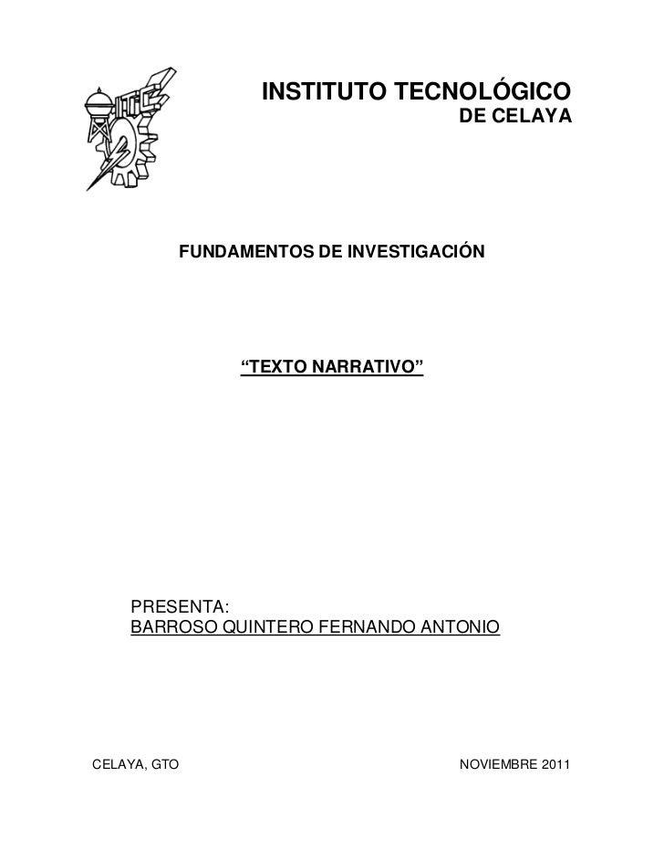 """INSTITUTO TECNOLÓGICO                                   DE CELAYA          FUNDAMENTOS DE INVESTIGACIÓN               """"TEX..."""