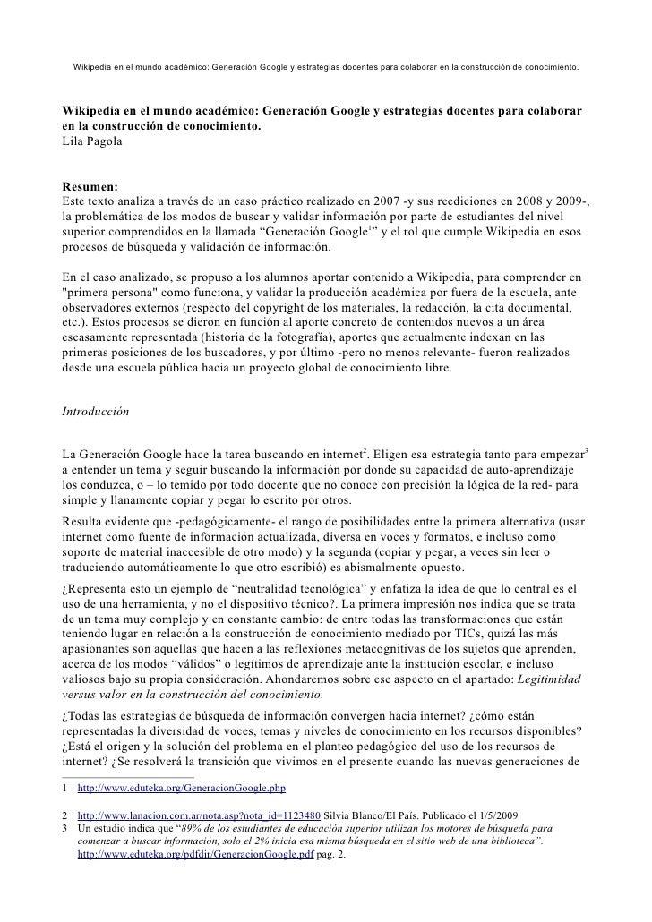 Wikipedia en el mundo académico: Generación Google y estrategias docentes para colaborar en la construcción de conocimient...