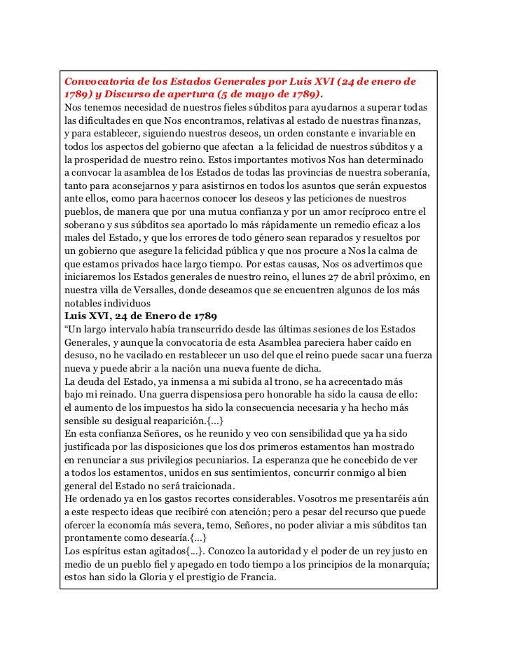Convocatoria de los Estados Generales por Luis XVI (24 de enero de1789) y Discurso de apertura (5 de mayo de 1789).Nos ten...