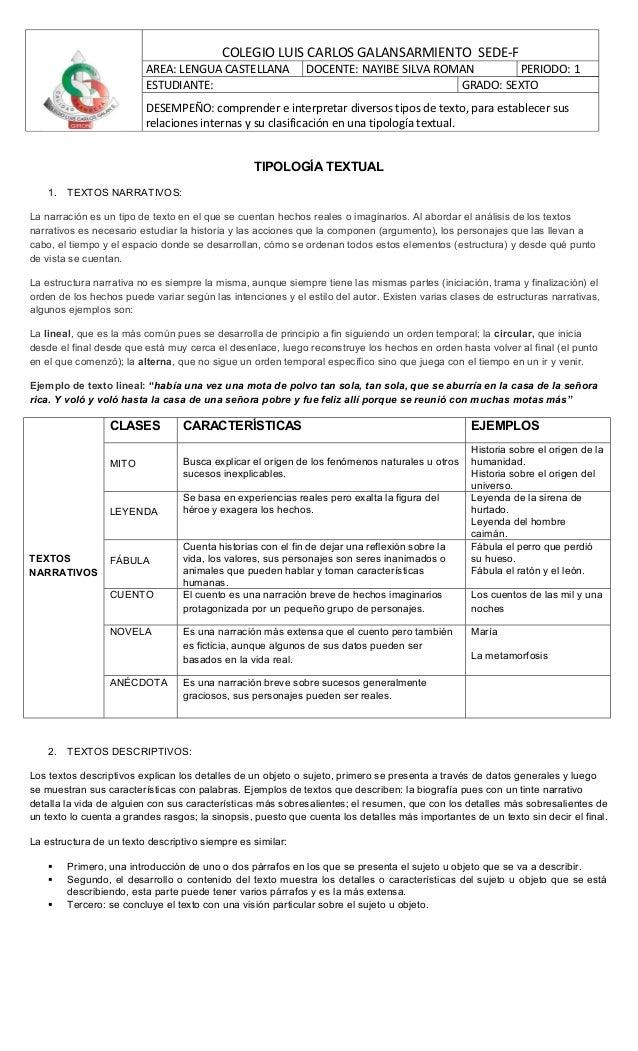 COLEGIO LUIS CARLOS GALANSARMIENTO SEDE-F                         AREA: LENGUA CASTELLANA             DOCENTE: NAYIBE SILV...