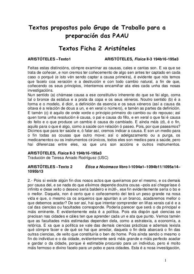 1 Textos propostos polo Grupo de Traballo para a preparación das PAAU Textos Ficha 2 Aristóteles ARISTÓTELES –Texto1 ARIST...