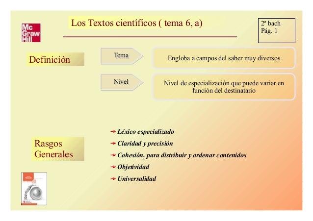 Los Textos científicos ( tema 6, a)Los Textos científicos ( tema 6, a) Definición TemaTema NivelNivel Engloba a campos del...