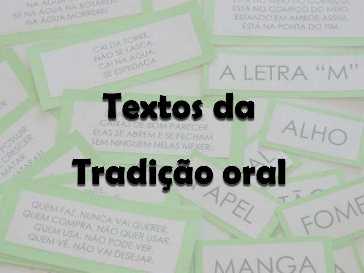 Textos daTradição oral