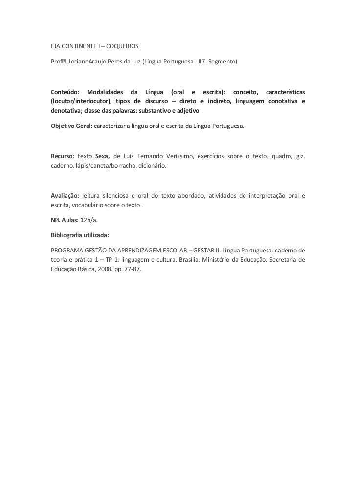Texto Sexa   Lingua Oral e Escrita