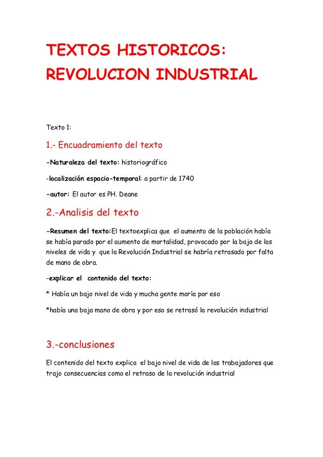 TEXTOS HISTORICOS:REVOLUCION INDUSTRIALTexto 1:1.- Encuadramiento del texto-Naturaleza del texto: historiográfico-localiza...