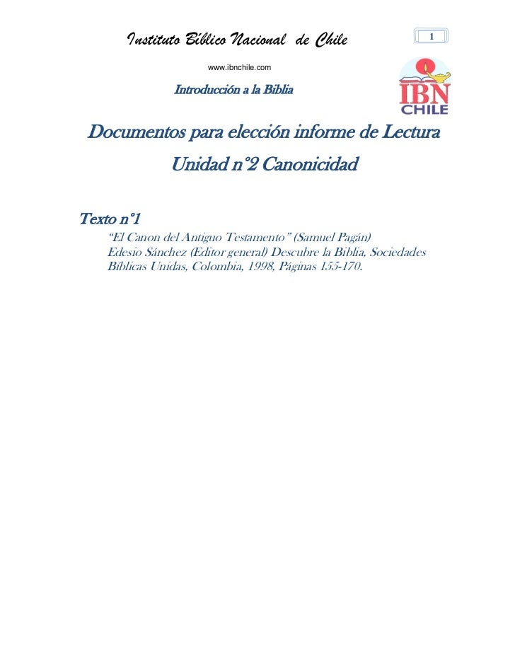Instituto Bíblico Nacional de Chile                           1                       www.ibnchile.com                 Int...