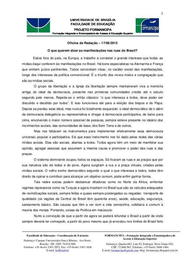 1   FORMANCIPA – Formação Integrada e Emancipadora de Acesso à Educação Superior Endereço: Quadra 602, Lote 02, Pedrega...