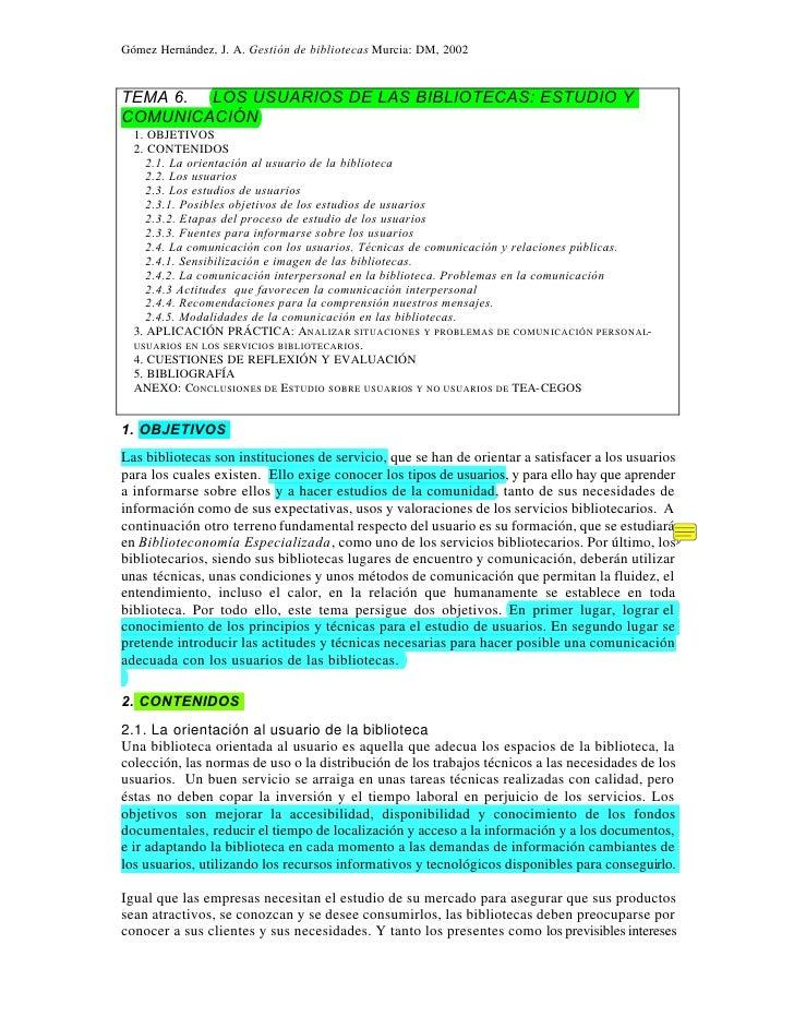 Texto sobre los usuarios y la biblioteca