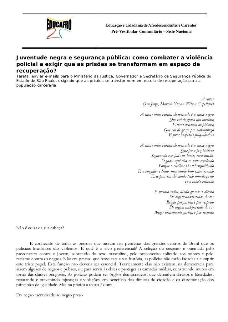 Educação e Cidadania de Afrodescendentes e Carentes                                                     Pré-Vestibular Com...