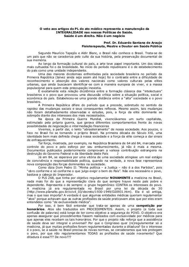 Texto sobre veto e história do brasil