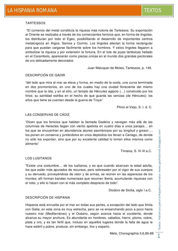 LA HISPANIA ROMANA                                                                        TEXTOS        TARTESSOS         ...