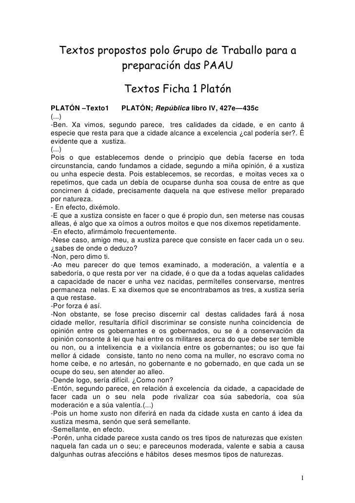 Textos propostos polo Grupo de Traballo para a              preparación das PAAU                         Textos Ficha 1 Pl...