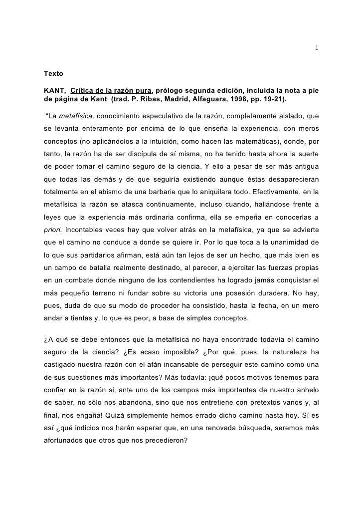 1   Texto  KANT, Crítica de la razón pura, prólogo segunda edición, incluida la nota a pie de página de Kant (trad. P. Rib...
