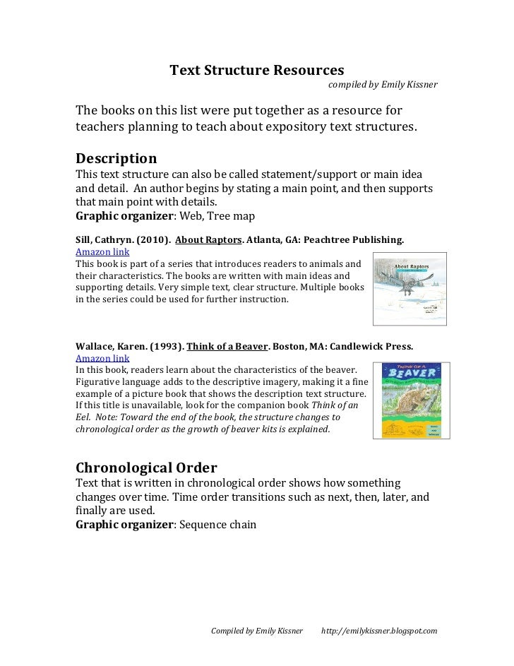 Text Structure Resources                                                          compiled by Emily KissnerThe books on th...