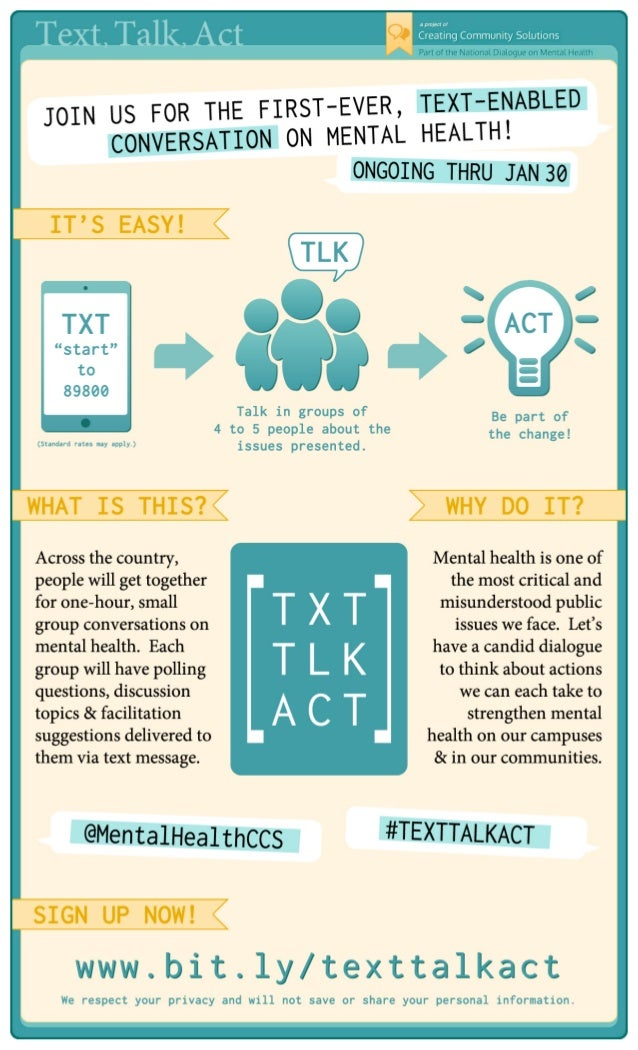Text , Talk , Act  a project of  ER, T EXT-E NABLE D  FO R TH E FIR ST-EV JOIN US ME NTAL HEALT H! CONV ERSAT ION ON  TG S...