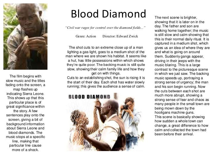 Blood Diamond<br />The next scene is brighter, showing that it is later on in the day. The father and son are walking home...