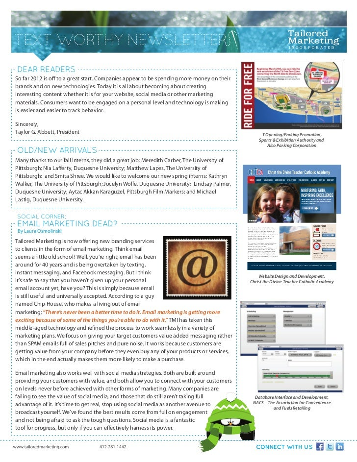 TEXT WORTHY NEWSLETTERDEAR READERSSo far 2012 is off to a great start. Companies appear to be spending more money on their...