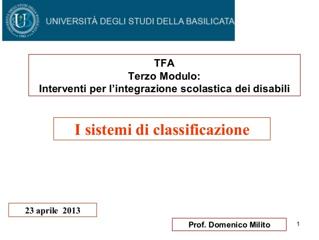 Tfa 12^ lezione 23 aprile i sistemi di classificazione