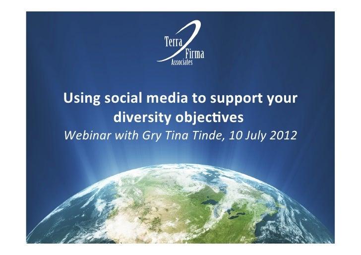 Terra Firma Webinar: social media and diversity 10 july 2012