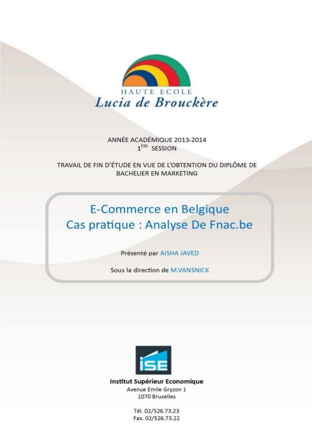 E-commerce en Belgique. Cas pratique : Fnac.be
