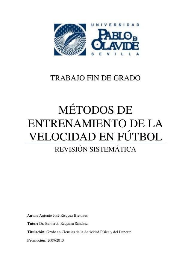 TFG-Metodos de Entrenamiento de la Velocidad en Fútbol