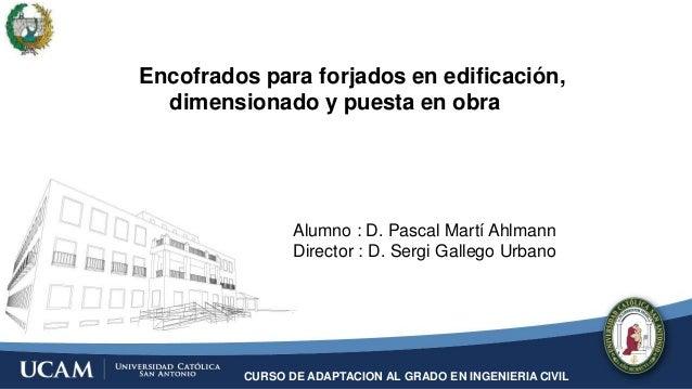 CURSO DE ADAPTACION AL GRADO EN INGENIERIA CIVIL Encofrados para forjados en edificación, dimensionado y puesta en obra Al...