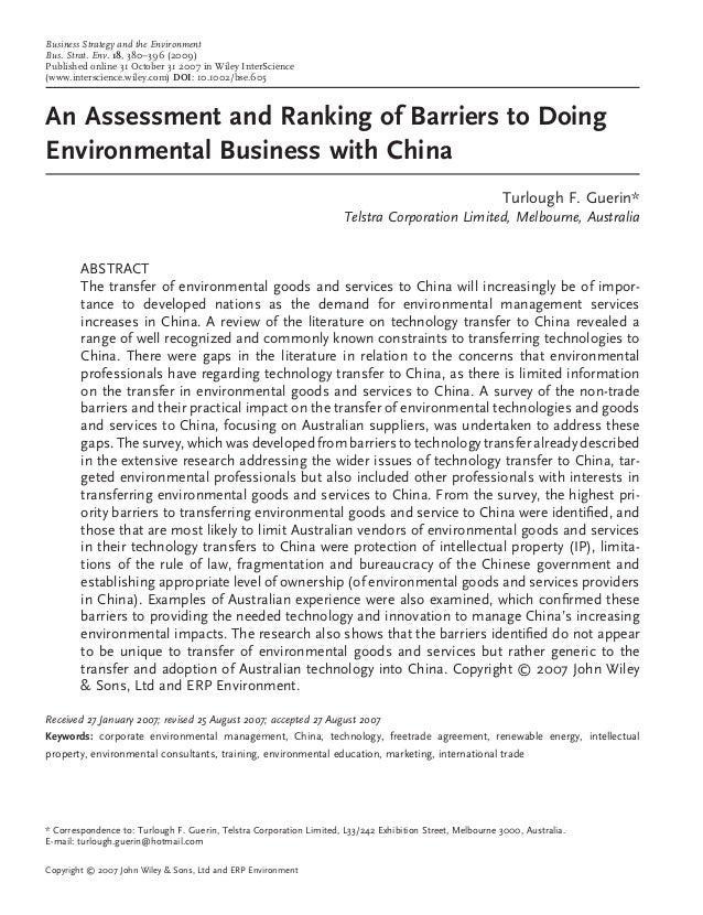 An Assessment and Ranking of Barriers to Doing Environmental Business with China