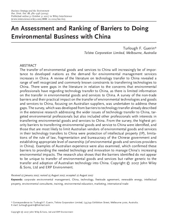 An Assessment and Ranking of Barriers to Doing Business in China