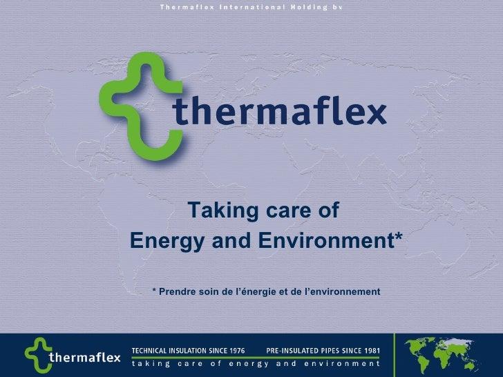 Taking care of  Energy and Environment* * Prendre soin de l'énergie et de l'environnement