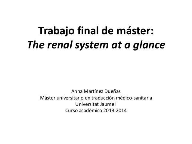 Trabajo final de máster:  The renal system at a glance  Anna Martínez Dueñas  Máster universitario en traducción médico-sa...