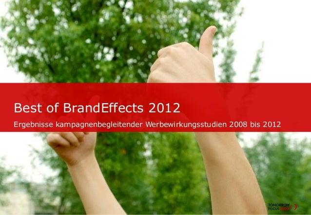Best of BrandEffects 2012Ergebnisse kampagnenbegleitender Werbewirkungsstudien 2008 bis 2012Seite 1   Titel der Präsentati...